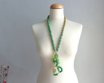 Green statement necklace long necklace wire necklace