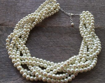Yellow Ivory Pearl Statement Necklace Multi Strand Wedding Necklace Chunky Braided Cluster on Silver or Gold Chain