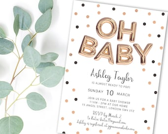 Oh Baby Printable Baby Shower Invitation with Rose Gold Balloons & Polka Dots