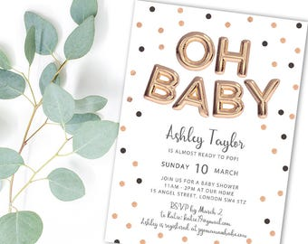 Oh Baby Printable Baby Shower Invitation With Rose Gold Balloons U0026 Polka  Dots