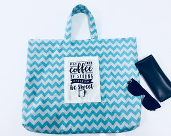 Screen printed tote bag with Coffee Quote // Shopping Bag // Chevron Tote Bag // Gift for Her