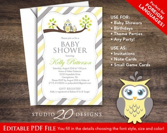 Instant Download Yellow Owl Baby Shower Invitations Editable Pdf, DIY 4x6 Printable Yellow Grey Owl Invitations, AUTOFILL enabled 23G
