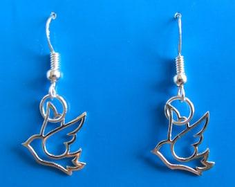 Sterling Silver Bird Dangle Earrings