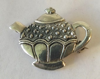 Vintage MFA Sterling Silver Teapot Brooch  5.98 grams Signed Vintage 925 Silver Brooch Pin