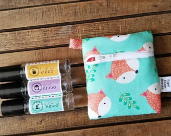 Mini Essential Oil Bag, Essential Oil Case - Fox Happy Camper - roller bottle case essential oil storage IEM case earbud holder rollerball