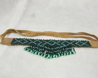 Green Beaded Choker Necklace