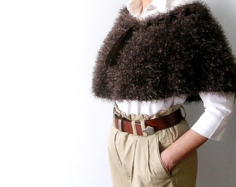 Chocolate Brown Capelet   Poncho   Crochet Teacher's Style