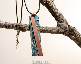 Copper Pendant Necklace with custom patina and plates - striped - hand made in Chester Nebraska