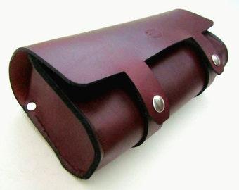 Leather Motorcycle Tool Bag, V2 Oxblood Brown, Leather Fork Bag, Custom Leather Saddlebag, Gift for Guys, Solo Bag, Harley Davidson
