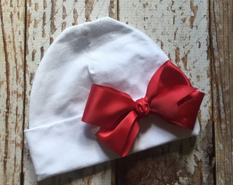 Baby Hat - Baby Beanie  - Infant/Newborn/Baby - Knit Hat - White with Bow - You choose ribbon color - READY TO SHIP
