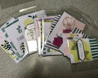 All Occasion cards, boxed set, mixed used, cute gold accents