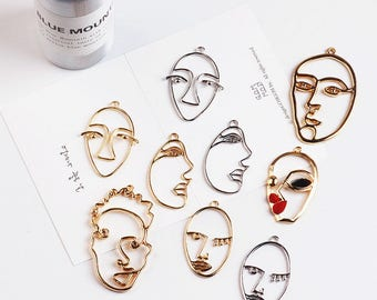 5/10pcs Face Charms Wire Face Charm Gold Plated Charm Abstract Face Pendant Bracelet Charms Earring Charms Jewelry Supplies Wholesale Charms