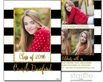 Black and White Photo Graduation Announcement Card, Graduation Invitation Annoucement Card Black Stripes Gold 4 photo announcement card