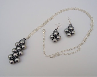 Steel Grey Faux Pearl Embellished Pendant and Earrings Set