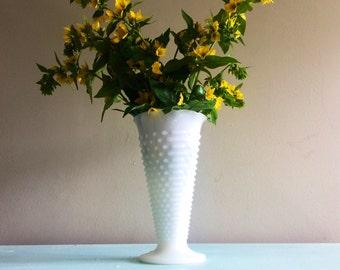Large Vintage hobnail milk glass vase wide white vase