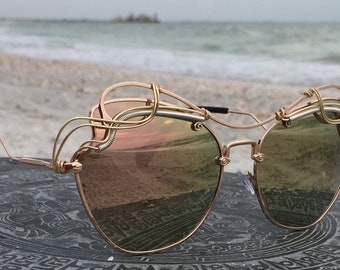 New Style BOLD Rose Gold Reflective Sunglasses women, Art Deco Bohemian Boho Mod Chic Sunglasses Eyewear Sunnies Sunglasses, SpunGlasses