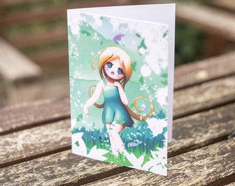 Spring Time Girl Original Character Illustrated Greetings Card