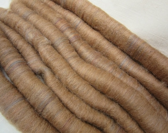 2.5 oz Handcrafted Alpaca Rolags - All Natural Medium Fawn Alpaca blended w/sandalwood colored Merino Top