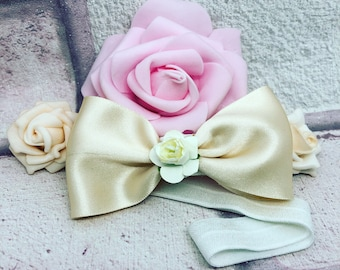 Satin bow-hair clip-headband- girls hair accessories
