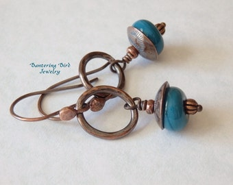 Teal Lampwork Drop Earrings on Small Oval Hoops, Hammered Copper and Glass Beads, Artisan Copper Jewelry
