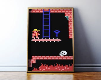 Retro games print: Montezuma's Revenge // 8 bit wall art // C64 poster // Giclee print on Archival paper // Commodore 64 art