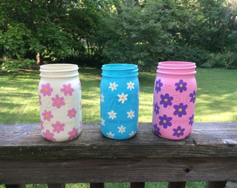 Set of 3 quart size Ball wide mouth jars hand painted with flowers