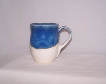 Handmade mug, pottery mug, white and blue ceramic mug, unique mug, ceramic mug,