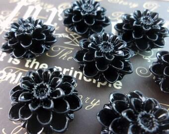 4 Pcs Black 19 Mm Chrysanthemum Cabochon