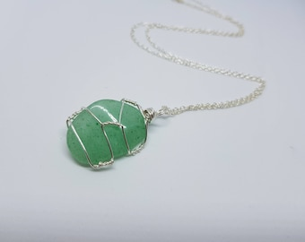 Aventurine Wire Wrapped Pendant Necklace