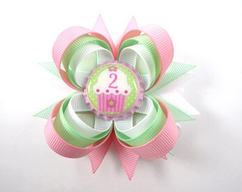 Birthday Hair Bow - My First Birthday - 1st 2nd 3rd 4th Birthday Hair Bow - Pink White and Mint Hair Bow - Birthday Bow - YOU PICK BOTTLECAP