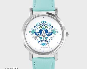 Bracelet Watch - Folk birds, blue - turquoise, leather