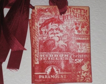 Vintage Christmas Hand Stamped Santa Gift Tags with Vintage Glitter Set of 6 Hang Tags