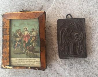 Antique handmade icons  primitive