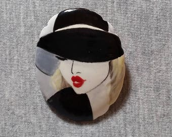Black Brooch - Ceramic Jewelry - Handpainted Brooch - Art Pin - Unique Jewelry - Art Jewelry - Wearable Art - Gift For Women - Black Jewelry