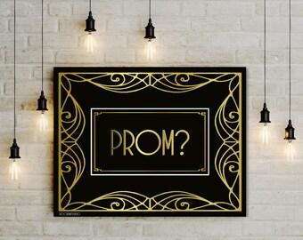 Promposal Sign, printable Prom Proposal, large gold black digital high school prom invitation, teen prom party prop jpg pdf, 5x7 8x10 14x18