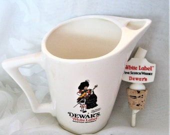 Dewars's White Label Scotch Whiskey Pitcher & Pouring Spout and Cork Bottle Topper/Stopper The Dewar Highlander 9 ' Tall Pitcher Shenley Co