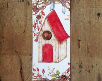 Bookmark with house of birds