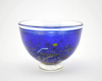Kosta Boda Satellite Miniature Blue Bowl - Artist Collection Bertil Vallien signed & numbered 59250 in original box