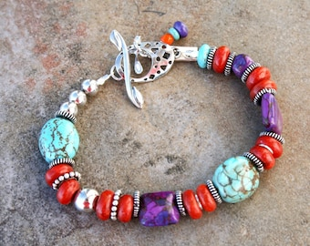 ARIZONA STAR Turquoise, Sponge Coral and Sterling Bracelet