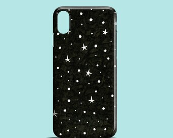 B&W Stars phone case, illustrated iPhone X, iPhone 7, iPhone 7 Plus, iPhone SE, iPhone 6S, iPhone 6, iPhone 5/5S / constellation iPhone 8
