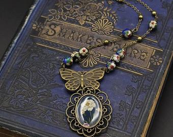 "Necklace - illustrated necklace - vintage necklace - Boho - Butterfly - ""Flora Blue"""