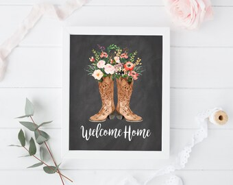 """Welcome home print, 8x10"""", Housewarming gift, Welcome print decor, Entrance wall art, Guest room decor, quote printable, floral home print"""
