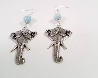 Elephant Earrings. Amazonite. Silver Elephant Earrings. Silver Handmade Earrings. Amazonite Earrings. Symbolic Earrings. Ocean Blue Earrings