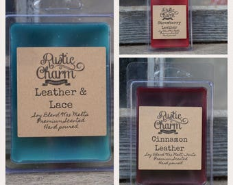 Pick 3 Hand made Soy Blend Candle Wax Melts Breakaway Clamshell Tarts Rustic Charm