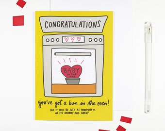 Congratulations You've Got A Bun In The Oven Card Pregnancy Card