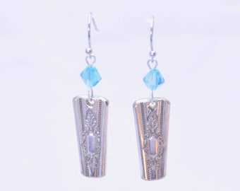 Beautiful Ornate Silverware Earrings made from Vintage Antique Spoons with Blue Beads