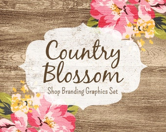Floral Wood Shop Branding Banners, Avatar Icons, Business Card, Logo Label + More - 12 Premade Graphics Files - COUNTRY BLOSSOM
