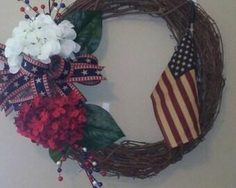Patriotic wreath/vintage flag wreath