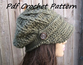 CROCHET PATTERN - Crochet  Newsboy Hat, Crochet Pattern PDF,  Winter accessories, Slouchy hat, Pattern No. 68