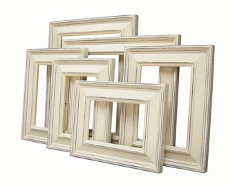 Picture Frames Shabby Chic Picture Frames Picture Frame Set Custom Picture Frames Distressed Ivory Wedding Wall Decor Home Decor
